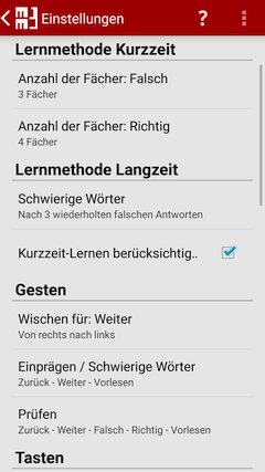 Einstellungen - MM3-TeachingMachine - Vokabeltrainer - Mein Handy ist meine TeachingMachine